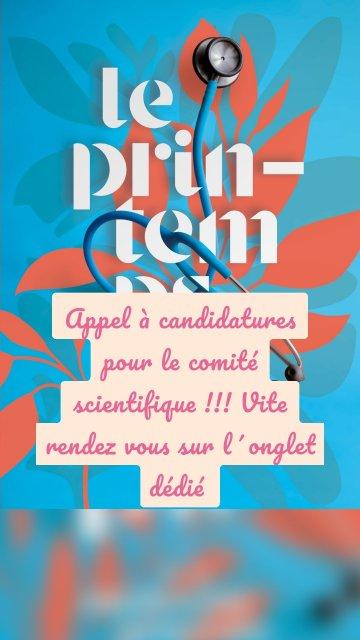 Appel à candidatures pour le comité scientifique !!! Vite rendez vous sur l´onglet dédié